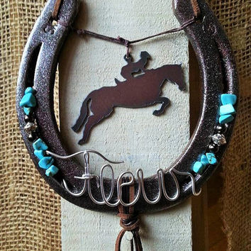 Decorated Horseshoe, CUSTOM DESIGN, Horseshoe Decor, Horseshoe Art, Jumping Horse, Equestrian Gift, Rustic Metal, Equine Gift