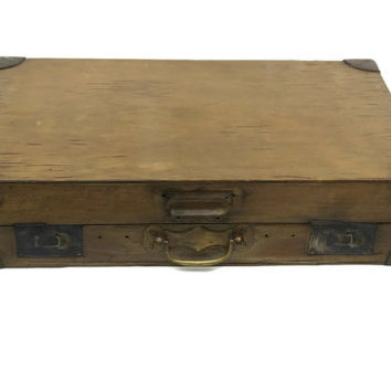 Antique Wooden Box.  French Antique Card Box. Wooden Suitcase.