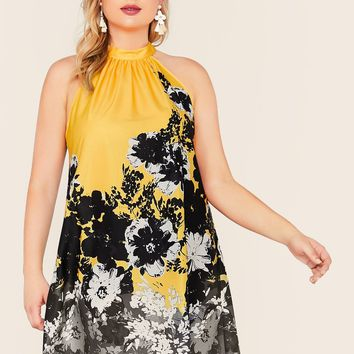 Plus Tie Neck Floral Print Halter Dress