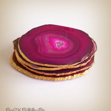 Pink agate coasters - set of four large drink coasters - semi precious pink sliced stone with metallic gilt gold edge finish.