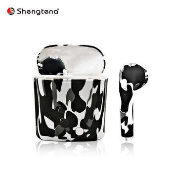 Shengtena i7s Tws camouflage Wireless Bluetooth Earphone Bluetooth Earphone Stereo Headset Earbuds Charging box for iPhone X