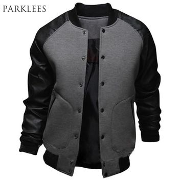 New Gray Baseball Jacket Men 2015 Fashion Design Black Pu Leather Sleeve Mens Slim Fit College Varsity Jacket Brand Veste Homme