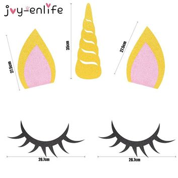 JOY-ENLIFE 1set Unicorn Party Decoration Unicorn Horn Eyelashes Ear Kids Birthday Party Baby Shower DIY Party Backdrop Supplies