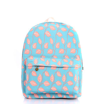 Print Leaf Canvas Backpack = 4887803268