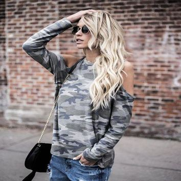 ac DCK83Q Ladies Strong Character Camouflage Long Sleeve Tops T-shirts [129154351129]