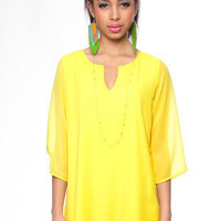 Gina Shift Dress in Yellow :: tobi