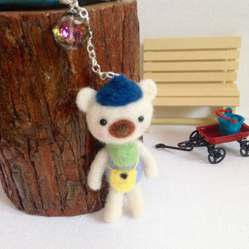 Cell iPhone Accessory iPod Accessory Cell Phone Dust Plug Charm Needle Felt Wool Bear Headphone Jack Miniature Animal Kawaii Bear Charm