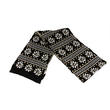 "60"" Unisex Black Jacquard Knit Winter Scarf"
