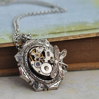 TIME TRAVELER antiqued silver steampunk watch by junesnight