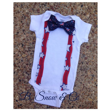 Boys 4th of July outfit//HIPSTER fourth of july bow tie star spangled suspenders bodysuit//Boys 4th birthday shirt//Boys 4th of july shirt