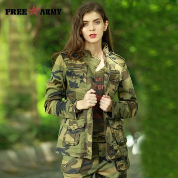Trendy FREEARMY 2017 New Women's Casual Camouflage Jacket Denim Cotton Jacket Military Camo Jackets and Coats Female Outerwear Basic AT_94_13
