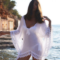 Sexy Womens Beach Wear Chiffon Lace Crochet Bikini Swimming Cover Up White