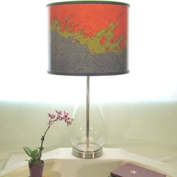Coast of Maine Nautical Lighting, Chart Drum Lamp Shade, Modern Lamp Shade, Beach Decor, Maine Decor, Orange, Lime and Navy Blue Lamp Shade