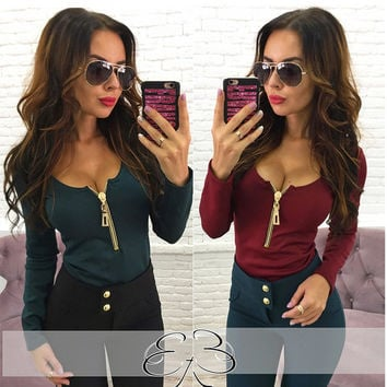 2016 Autumn Fashion T Shirt Women Shirt Sexy V-neck Zipper Design Long Sleeve Solid Femme Top