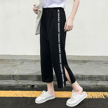 Harajuku BF college students wide leg pants summer sportswear casual trousers ankle length side letter striped pants black kpop