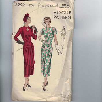 1940s Vintage Sewing Pattern Vogue 6292 Misses Draped Front Keyhole Neckline Dress Size 14 Bust 32 1948 40s
