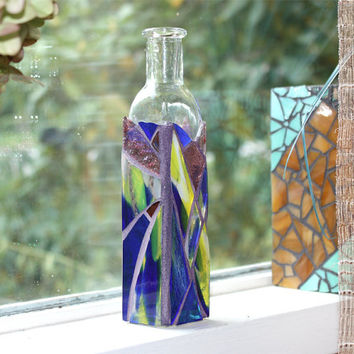 Small Blue Mosaic Bottle Vase