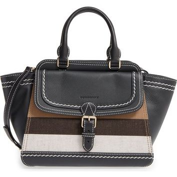 Burberry Medium Harcourt Check & Leather Tote | Nordstrom