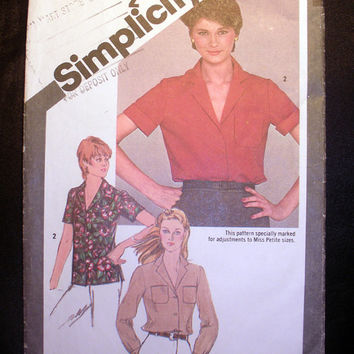 Women's Shirt with Long or Short Sleeves Misses' Size 14 Vintage Simplicity 9774 Sewing Pattern Cut