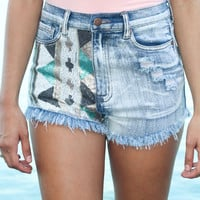 Sequined High Waist Shorts