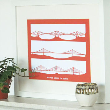 Forth Bridge Print, minimalist print,  Forth Railway Bridge, Queensferry Crossing wall art, Scottish art, Picture of bridge
