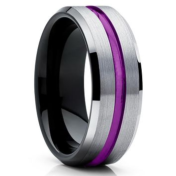 Purple Tungsten Wedding Band - Purple Wedding Band - Black Tungsten Ring