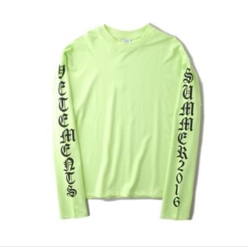 Vetements oversize Tide card Large yards loose color long-sleeved sweater Fruit green