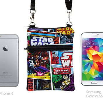 iPhone 6 Plus Zipper Shoulder Bag, Galaxy Note Purse, Small Travel Bag, Cell Phone Case Crossbody, Smartphone Sling Pouch - Star Wars