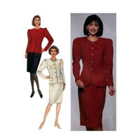 "Slim Skirt and Jacket Simplicity 9301 Misses'/Miss Petite Size 8, 10, 12, 14, 16, 18 Bust 31, 32, 34, 36, 38, 40"" Sewing Pattern Uncut"
