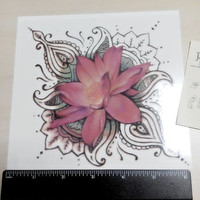 temporary tattoo buddhistical lotus flower pattern The skin on the pattern indian paper sticker body art fake tattoo