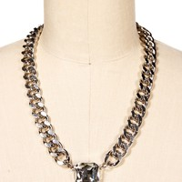 Rhodium Crystal Chain Link Gemstone Necklace