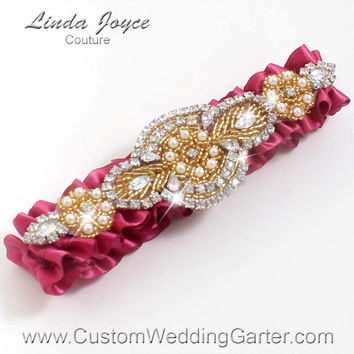 Pink and Gold Vintage Wedding Garter Bridal Rhinestone 169 Rosewood Custom Luxury Prom Garter Plus Size & Queen Size Available