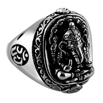 Pure Solid 925 Sterling Silver Elephant/Ganesh Ring