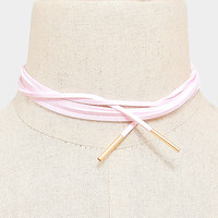 Long Faux Suede Tie Wrap Choker Matchstick Necklace - Pink