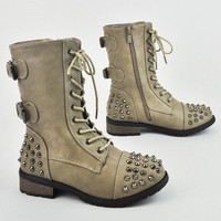 Women's Military Army Combat Riding Ankle Spike Studs Bootie Boots Shoes Forever