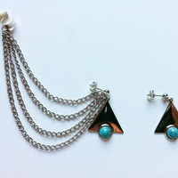 Silver Triangle, Turquoise Pair of Ear Cuffs