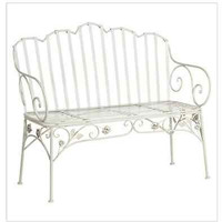 New Ivy Scroll Antique White Iron Bench Garden Furniture Patio Deck Loveseat