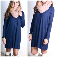 Everest Eves Navy Blue Solid Long Sleeve Dress