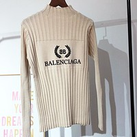 Balenciaga New fashion bust letter leaf print knit slim fit long sleeve top sweater Apricot