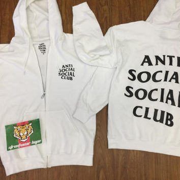 AntiSocial Social Club Hoodie in White Masochism Zip Up Hoodie / ASSC / Kanye West Anti Social  Cash Me Outside anti social club