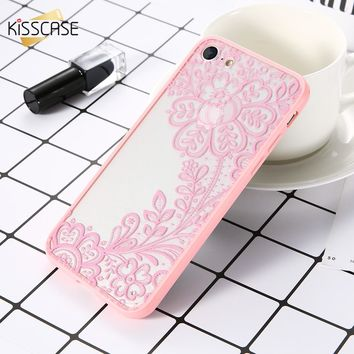NEW KISSCASE Flower Case for iPhone 7 6 6s 7 plus Case for iPhone 5s 5 SE 6 6s plus Lace Cute Girly Phone Accessories Cover Capa