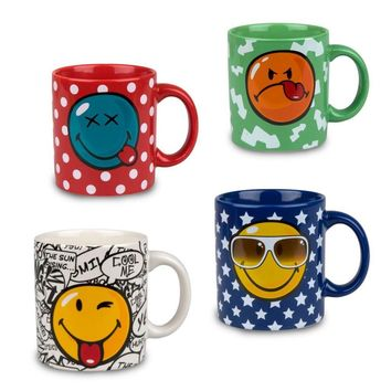 Konitz Multi-Color Smiley Face Porcelain Mugs Set of 4