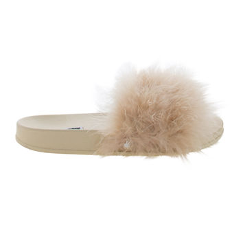 Moira2 Nude by Cape Robbin, Single Band Faux Fur Slider Sandal On Thick Footbed Sole