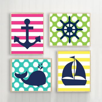 NAUTICAL Wall Art Canvas or Prints Whale Anchor Sailboat Wheel, OCEAN Bathroom Decor, Child Kid Bathroom Decor, Set of 4 Polka Dots Stipes
