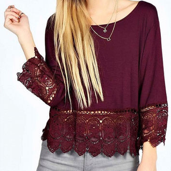 Wine Red Lace Hem Long Sleeve Blouse