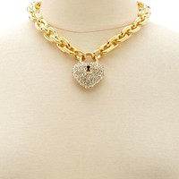 RHINESTONE HEART LOCK NECKLACE