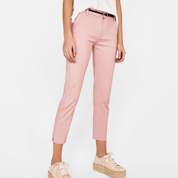 Belted chino trousers - Pants - Bershka United States