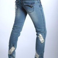 Women's Ripped Style Poison Heart Jeans