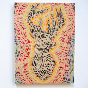 Deer Silhouette Rainbow Ombre Pointillist Style on wood
