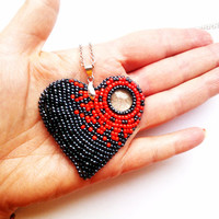 Red Heart Necklace  Pedant Embroidered Necklace Silver Chain Necklace  Pedant
